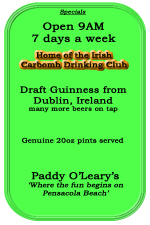 Specials from Paddy O'Leary's Irish Pub